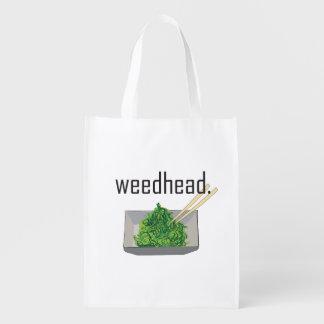 weedhead. (seaweed salad) reusable grocery bag
