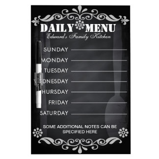 Weekly Menu Blackboard for Kitchen Dry Erase White Board
