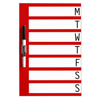 Weekly Planner ~ Dorm / Home/ Office Dry Erase Board