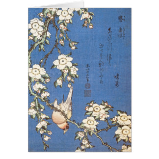 Weeping Cherry and Bullfinch by Hokusai Card