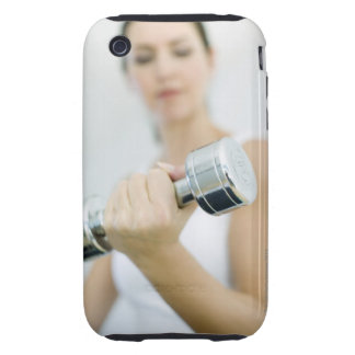 Weightlifting. Woman lifting dumbbells. This Tough iPhone 3 Case