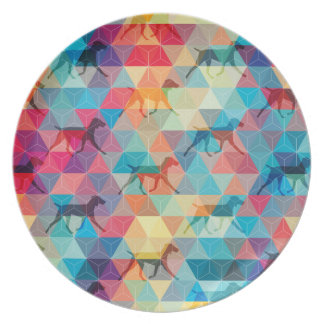 WEIMARANER AND TRIANGLES PLATE