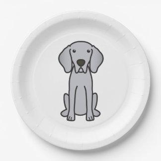 Weimaraner Dog Cartoon Paper Plate