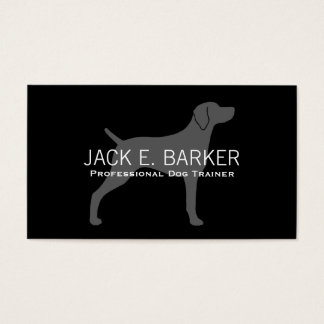 Weimaraner Dog Silhouette Grey on Black Business Card