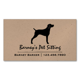 Weimaraner Silhouette Magnetic Business Card