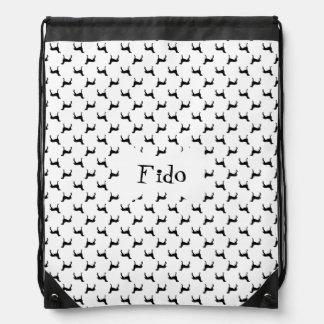 Weimaraner Silhouettes in Black & White Drawstring Bag