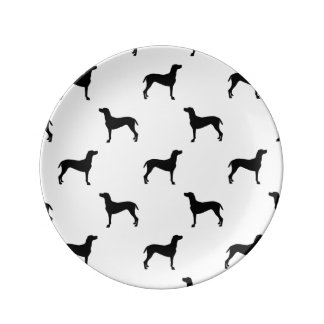 Weimaraner Silhouettes in Black & White Plate