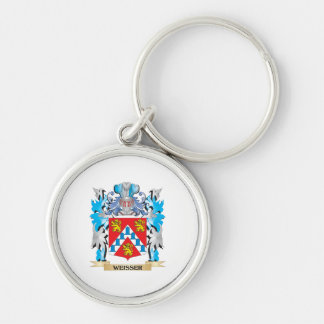 Weisser Coat of Arms - Family Crest Silver-Colored Round Key Ring