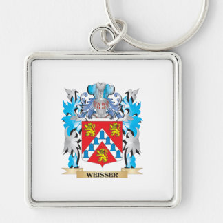 Weisser Coat of Arms - Family Crest Silver-Colored Square Key Ring