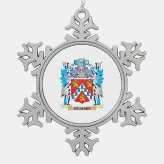 Weisser Coat of Arms - Family Crest Pewter Snowflake Ornament