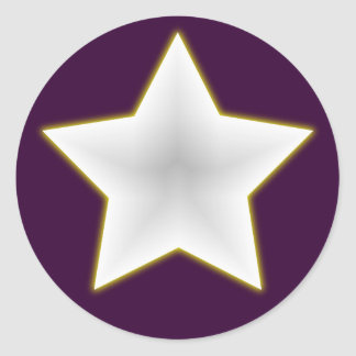 weisser Stern white star Runder Sticker