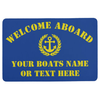 Welcome aboard boat or yacht anchor motif floor mat
