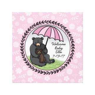 Welcome Baby Girl Mama Bear and Cub Personalized Canvas Print