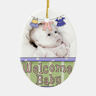 Welcome Baby Photo Ornament - Girl