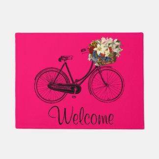 welcome Bike bicycle flower door mat pink