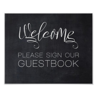 Welcome Chalkboard Wedding Sign Our Guest Book