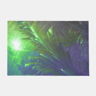 welcome door mat abstract green purple