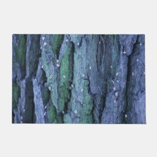 welcome door mat abstract purple aqua tree bark