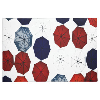 welcome door mat blue red  white umbrellas