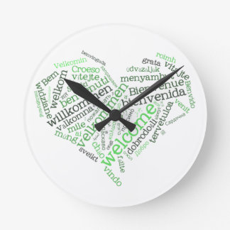 Welcome Heart (many languages) Wall Clock