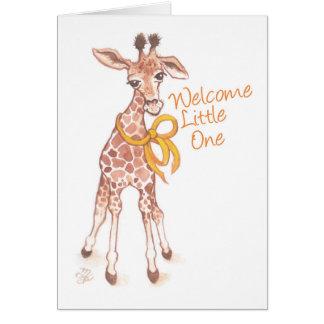 Welcome Little One Cute Giraffe Baby Shower Card
