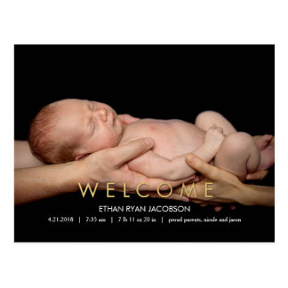 WELCOME Modern Birth Announcement Postcard