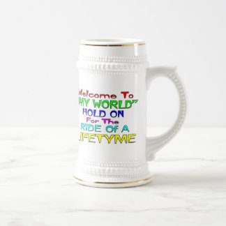 """Welcome To """"My World"""" Beer Stein"""