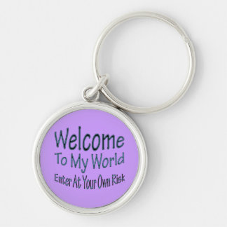 Welcome To My World blu Silver-Colored Round Key Ring