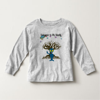 Welcome to my World Blue Alien Peace Sign Tee Shirts