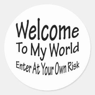 Welcome To My World Classic Round Sticker