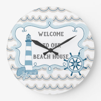 Welcome to Our Beach House blue and grey Large Clock