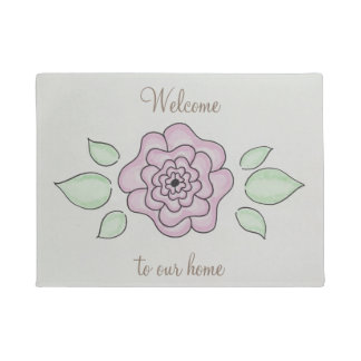 Welcome to our home hand drawn pink flower doormat
