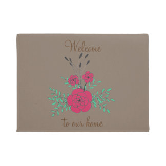 Welcome to our home hand drawn red green flowers doormat