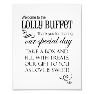 Welcome to the Lolly Buffet Wedding Sign - Box Art Photo