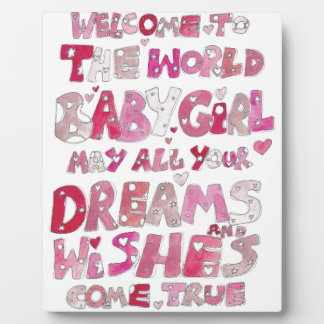 Welcome To The World Baby Girl Photo Plaque