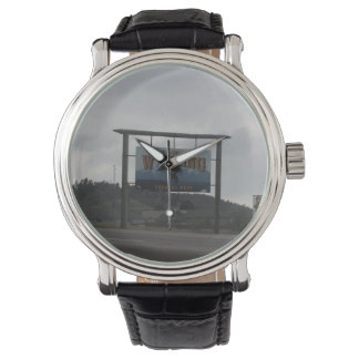 Welcome to Wyoming Black Vintage Leather Watch