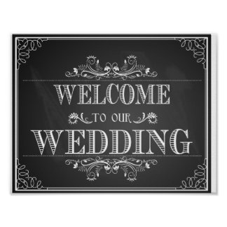Welcome wedding sign in chalkboard poster