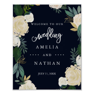 Welcome Wedding Sign Modern Botanical Navy Poster