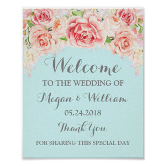 Welcome Wedding Sign Pink Watercolor Flowers Blue
