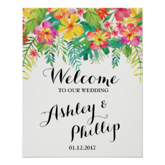 Welcome Wedding Sign Tropical