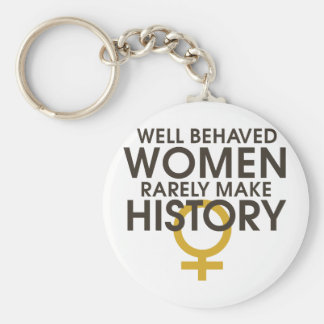 Well behaved women rarely make history basic round button key ring