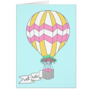 Well Hello Hot Air Balloon Greeting Card