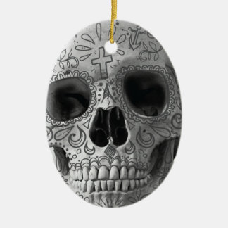 Wellcoda 3D Skull Horror Face Aztec Head Ceramic Oval Decoration