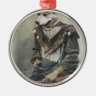 Wellcoda Animal Dog Akita Inu Bow Native Silver-Colored Round Decoration