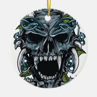 Wellcoda Evil Horror Skull Scary Mask Round Ceramic Decoration