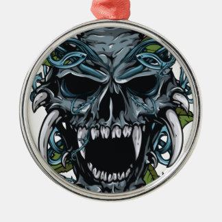 Wellcoda Evil Horror Skull Scary Mask Silver-Colored Round Decoration