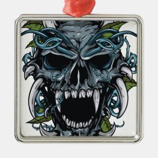 Wellcoda Evil Horror Skull Scary Mask Silver-Colored Square Decoration