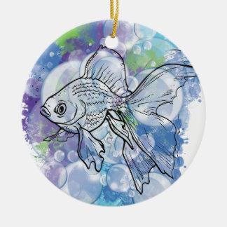 Wellcoda Fish Animal Nature Sea Bubble Round Ceramic Decoration