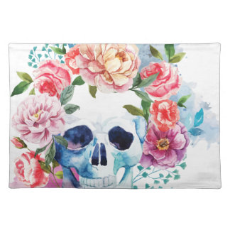 Wellcoda Flower Grave Skull Skeleton Head Placemat