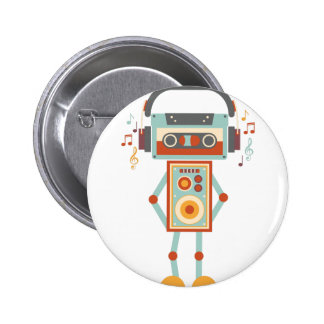 Wellcoda Robot Music Tape Dj Headphones 6 Cm Round Badge